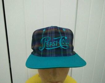 Rare Vintage PEPSI - COLA Scottish Plaid Cap Hat Free size fit all