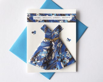 Handmade origami dress card, Positivity cards, Folded blank card, Origami art, Just because card, Blues and floral, Hand-typed, A2 size