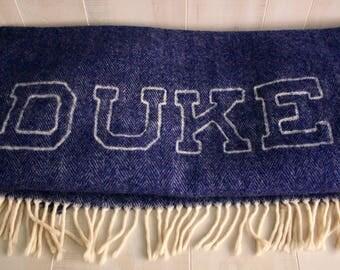 Duke University, Vintage Blue Wool Fringe Blanket, Duke University, Vintage Wool Blanket, Chatham Wool Blanket