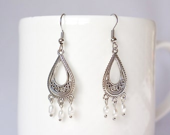 CHARVI - Silver Plated Dangle Earrings with Fresh Water Pearls