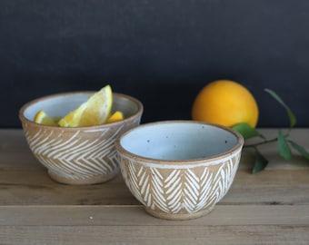 Ceramic Bowls Set of 2, Ceramic Serving Bowls, Pottery White Bowls, Hand made Bowl Set, Pottery Serving Set, Kitchen Pottery Bowls