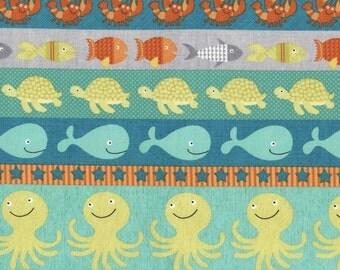 Timeless Treasures - Sea Creature - Border Stripe - Splish Splash
