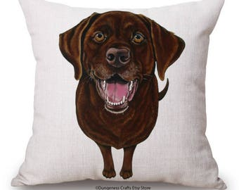 """Chocolate Labrador Cushion Cover with Cushion Insert Included- 18"""" by 18"""" - Orange Cushion"""