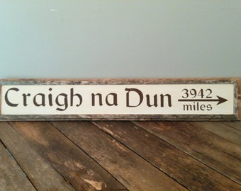 Custom Hand Painted CRAIGH NA DUN Framed Sign - Directional Sign - Destination Sign - Wall Hanging - Personalized Location Sign - Arrow Sign