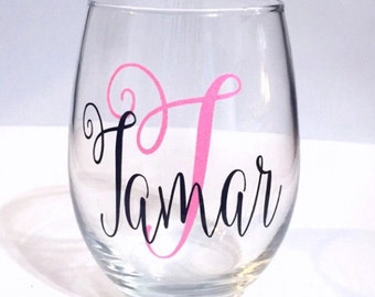 Monogrammed Wine Glass. Bridesmaid gifts. Bachelorette Party. Best Friend. 21st Birthday. Gifts for her. Monogram Name. Personalized present