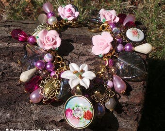 Flower Charm Bracelet, Gypsy Charm Bracelet, Gypsy Bracelet, Bohemian Bracelet, Statement Bracelet, Boho Bracelet, Flower Bracelet