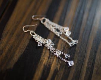 Rock Quartz Chandelier Earrings