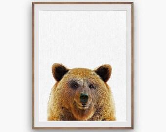 Bear Print, Bear Nursery Art Decor, Kids Wall Art Decor, peekaboo print, Digital Download, Large Printable Poster, Forest Animals, cute