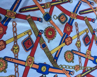 Vintage Mid-Century Pillow Case with Crocket Edge Bright & Bold Watch Time Pattern