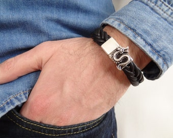 EXPRESS SHIPPING,Braided Leather Bracelet,Black High Quality Leather Bracelet,Mens Dragon Bracelet,Magnetic Clasp Bracelet,Father's Day Gift