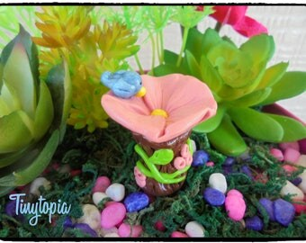 Miniature Flower Bird Bath  Fairy Garden Terrarium Accessory