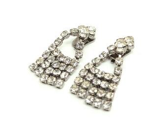 Vintage 1950s Earrings   Vintage Clip on Earrings   Rhinestone Earrings   Diamante Earrings   Chandelier Earrings   Vintage Clips