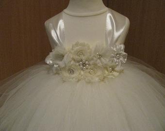 Flower Girl Dress Ivory Tulle Dress Wedding Dress Ivory Toddler Tutu Dress Shabby Chic Flowers Dress Baby Dress Tutu 1T2T 3T 4T 5T 6T 8T 10T
