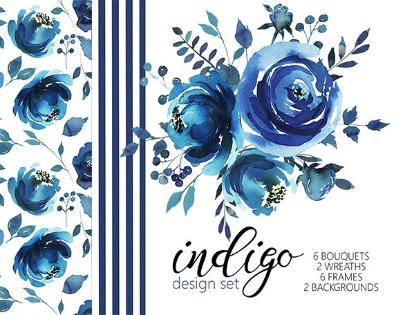 Indigo Watercolor Floral Design Collection Digital Clipart PNG Blue Flowers Leaves Wedding