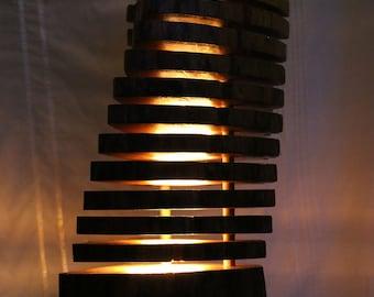 Beautiful wood handmade beech rustic table lamp light split trunk design