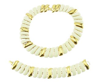 Monet White Enamel and Gold Necklace and Bracelet Set, Gold Collar Necklace, White and Gold Necklace, Gold and White Bracelet
