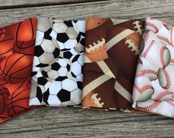Fat Quarter Sports Fabric Bundle- 100% Cotton- Quilting, Apparel, Crafts- Basketball, Football, Baseball, Soccer