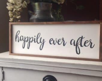 Happily ever after farmhouse sign - 16x6x framed -black and white, wedding gift, wedding sign, farmhouse sign, farmhouse wedding sign