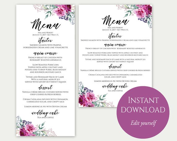 wedding menu template 5x7 4x9 wedding menu cards menu. Black Bedroom Furniture Sets. Home Design Ideas
