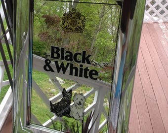 Vintage Black & White Whiskey Mirror