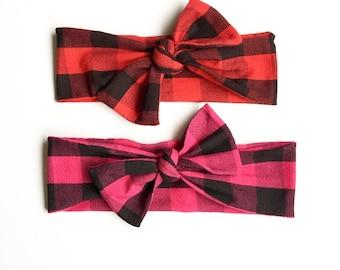 Knot headband, baby girl bows, plaid