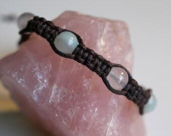 Rose Quartz and Amazonite Macrame Bracelet, 6mm Gemstone Beads, Adjustable