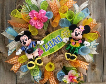 Mickey mouse tropical wreath, Minnie mouse tropical wreath, Disney Hawaiian wreath, Mickey mouse summer wreath, Minnie mouse summer wreath