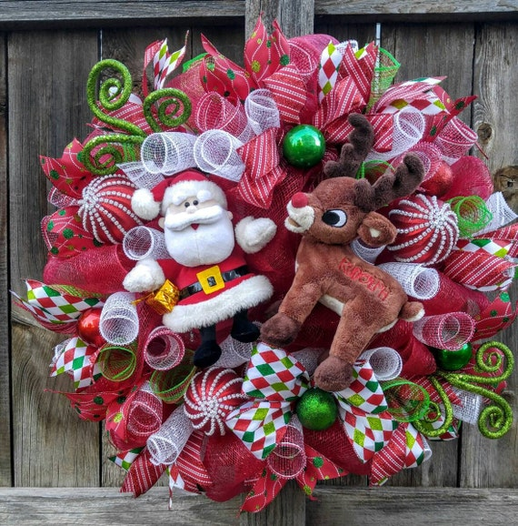 Rudolph and Santa Christmas Wreath