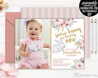 Girl First Bunny Birthday Invitation Template. Watercolor Floral First Birthday Invitation DIY PDF Digital Download Editable Gold