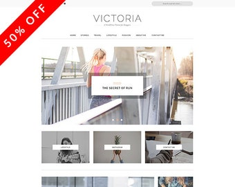 Victoria - A Responsive WordPress Blog Theme - Feminine Wordpress Theme - Blog Template - Fashion Template - Wordpress Blog Theme
