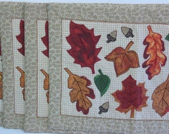 Vintage Fabric Placemats Set of 4 Autumn Leaf, Thanksgiving Fall Table Mats
