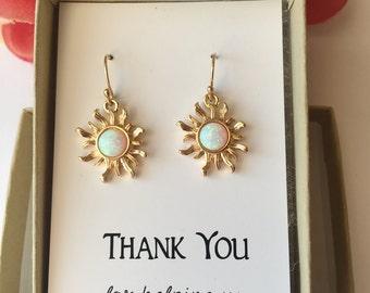 White Opal Sun Earrings.