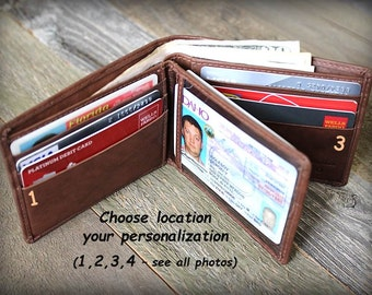 Father's Day - Mens Wallet - Father's Gift - Mens Personalized Wallet - Mens Leather Wallets Dad - Mens RFID Monogram Wallet - Toffee - 7746