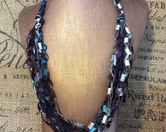Teal & Aubergene Yarn Necklace Hypoallergenic Crocheted out of Ladder/Ribbon yarn, Multi strand