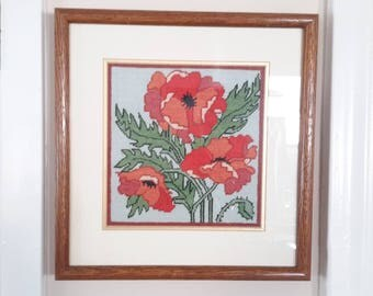Needlepoint of Orange / Red Poppies in Frame