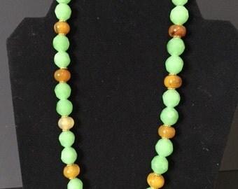 Elegant Green and Orange Necklace