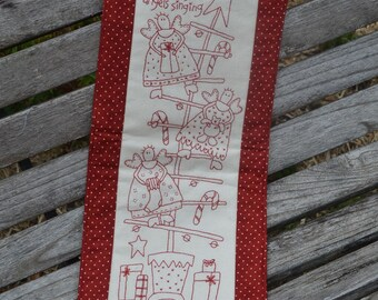 Redwork Christmas stitchery wallhanging
