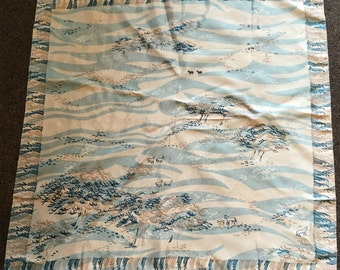 Vintage White and Blue Horse Scarf