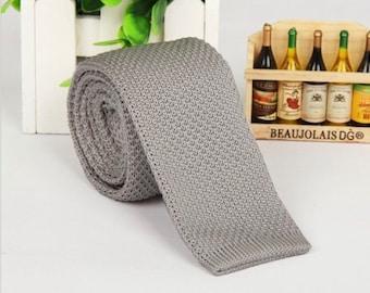 Light Grey Knitted Tie Boyfriend Gift Men's Gift Anniversary Gift for Men Husband Gift Wedding Gift For Him Groomsmen Gift for Friend Gift