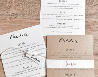 Personalised Menu Card for Weddings. Parties. Guest Names.