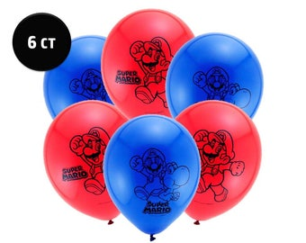 """Super Mario Brothers Balloons [6ct] 12"""" Latex Birthday Party Decorations Supplies Décor Centerpiece Backdrop Photo Prop"""