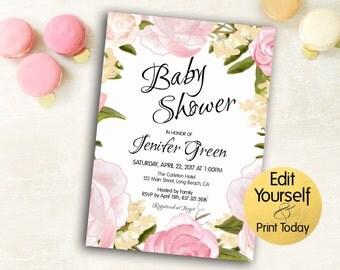 Baby Shower Invitation, Baby Shower Invitation Template, Girl Baby Shower Invitation, Rose Invitation, Floral Baby Shower Invitation