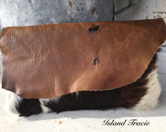 Cowhide clutch purse Hair on hide rustic leather