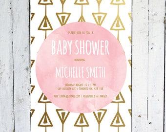 baby shower invitation girl geometric baby shower invitation triangle baby girl modern