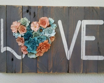 LOVE, Reclaimed Barn Wood Sign