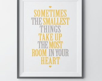 Disney Quote Wall Art Winnie the Pooh Quote Print Inspirational Art Nursery Decor Kids Room Wall Art Nursery Quotes Sometimes The Smallest
