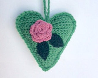 Green Crochet Heart/Baby Shower Gift/Nursery Decor/Baby Decor/Valentines Gift/Door Hanger/Gift for Him/Wall Hanging/Gift for Her