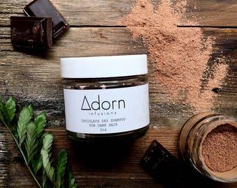 Dry Shampoo for Dark Hair  Peppermint   Chocolate Organic, Vegan, Natural Hair Powder,