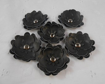 Handmade Paper Flowers Black with brad centers Set of 6 embellishments crafts