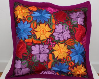 Hand Embroidered Floral Pillow Cover / Cushion Cover / Mexican Textile Pillow / Decorative Pillows